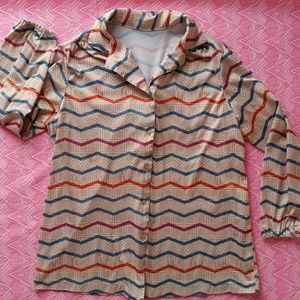 VTG 70's Polyester Blouse - Size14